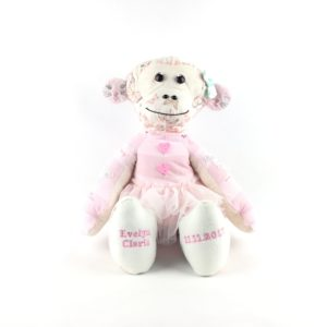 Monkey Keepsake, Personalised keepsake, Keepsakes Made from Baby Clothes