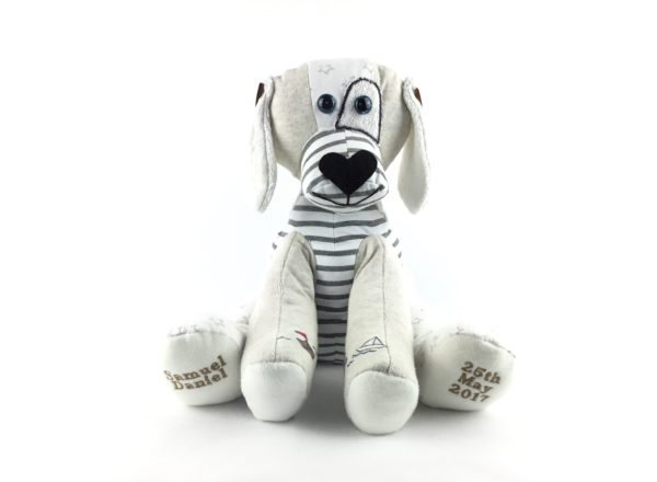 Handmade personalised dog Keepsake made from baby clothes