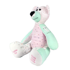 Bear keepsake made from baby clothing