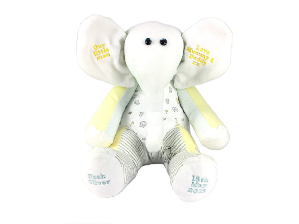 Elephant memory keepsake uk, teddy bear keepsake uk, baby clothes Keepsakes uk