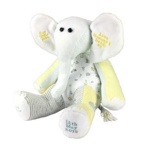 Memory elephant keepsake made from clothing