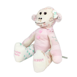 Memory Monkey keepsake made from baby grows and clothing