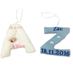 Letter keepsake made from babygrows