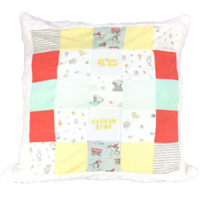 Patchwork memory cushions, baby clothes memory cushion, cushion keepsakes uk