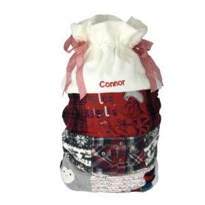Christmas sack keepsakes made from clothing