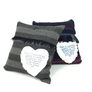 Grandad memory cushions made from scarfs