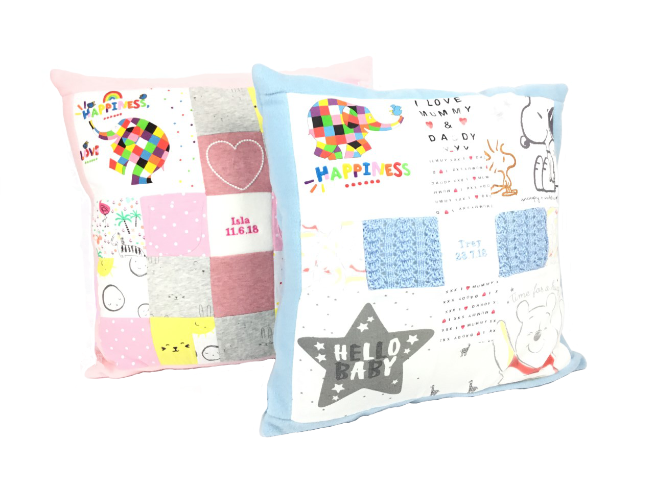 Keepsake baby gift, patchwork memory cushions, Memory patchwork cushion made from baby clothes