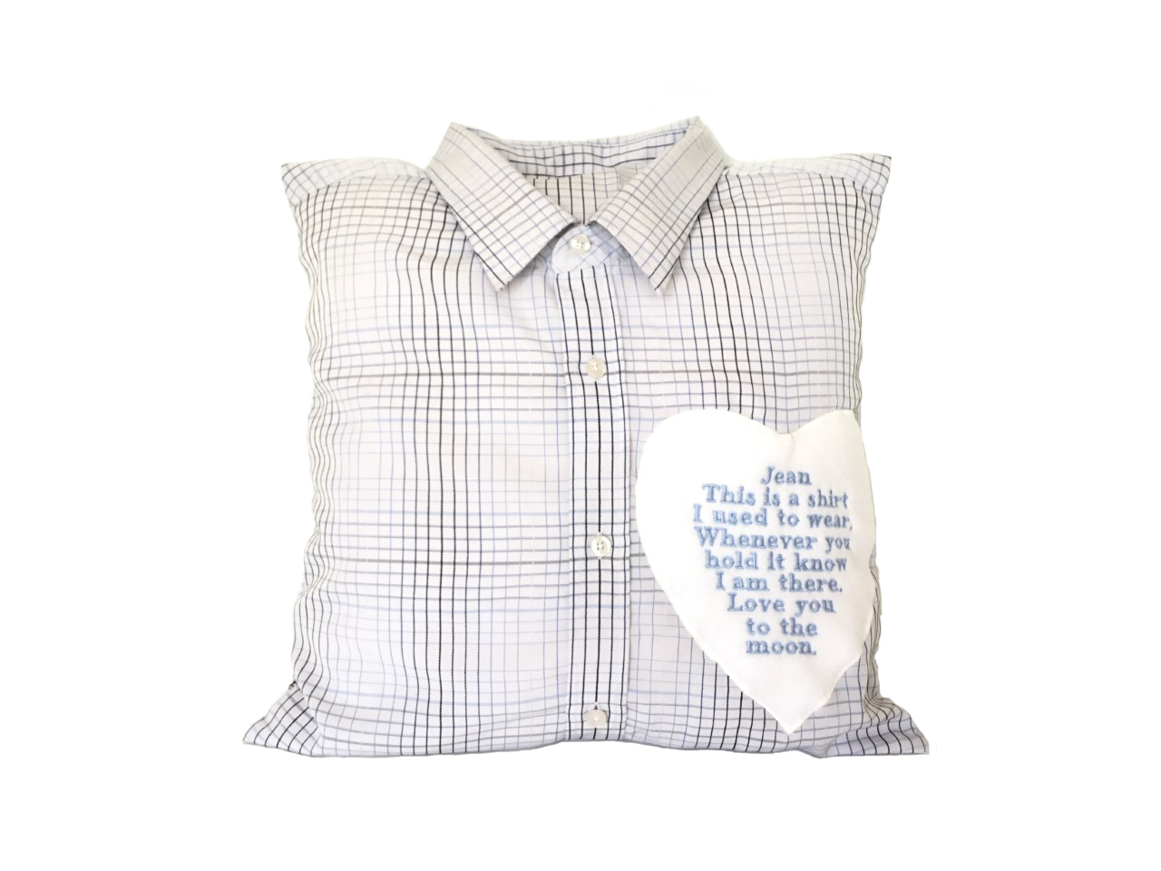 Grandad memory cushion made from shirt