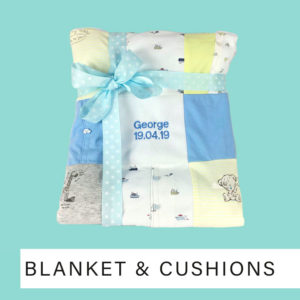 Blanket keepsakes made from baby clothing up