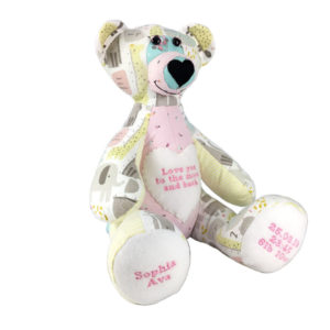 Memory Bears uk, babygrows Teddy, teddy made from old clothes
