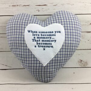 Heart Memory Cushion Keepsake made from loved ones clothing