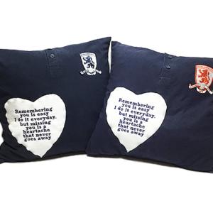 Memory Cushion Keepsake made from football shirts, memory pillows uk