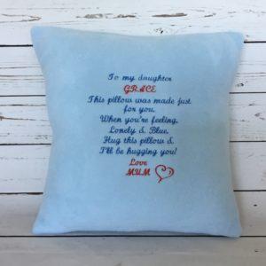 Daughter cushion gift, bespoke personalised pillow