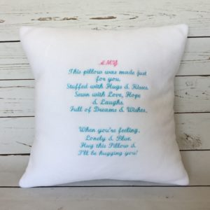 Personalised Cushion Keepsake, bespoke special message cushion, handmade cushion