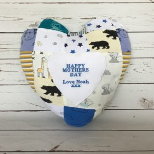 Patchwork Heart Memory Cushion Keepsake, made from baby clothes