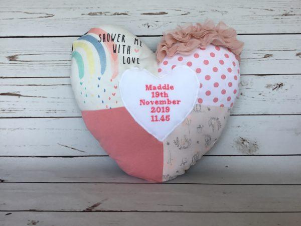 Patchwork Heart Cushion Memory Keepsake,
