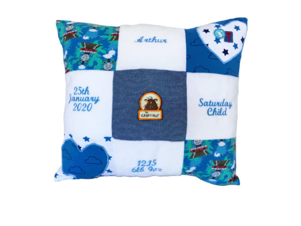 Patchwork memory cushion keepsake, made from baby clothing