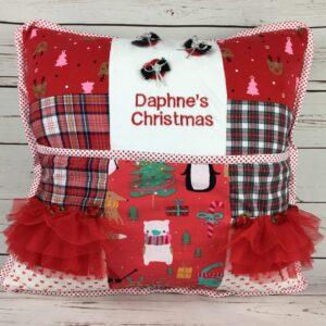 Christmas Reading Cushion Keepsake made from baby clothes